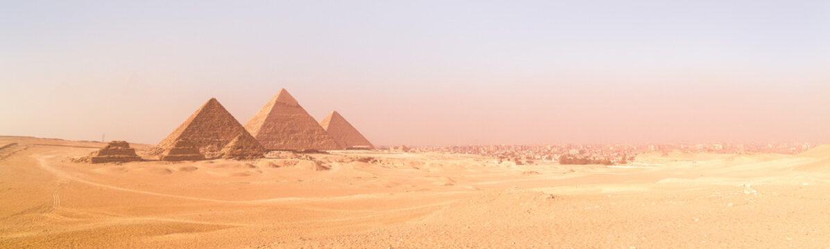 The pyramids of Giza, Cairo, Egypt. Oldest of the Seven Wonders of the Ancient World, and the only one to remain largely intact.