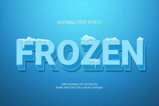 Blue Frozen. Editable text effect