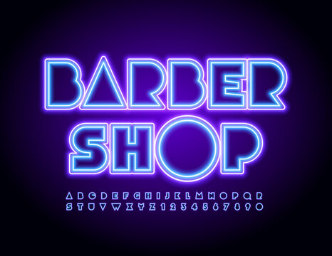 Vector creative logo Barber Shop. Abstract Neon Font. Glowing bright Alphabet Letters and Numbers set