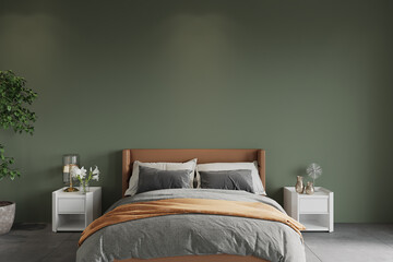 Fototapeta bedroom with bed in front of the green wall, 3d render obraz
