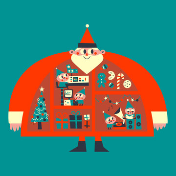 Santa & his Elves Christmas Retro Illustration