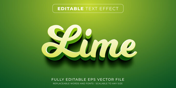 Editable text effect in green lime style