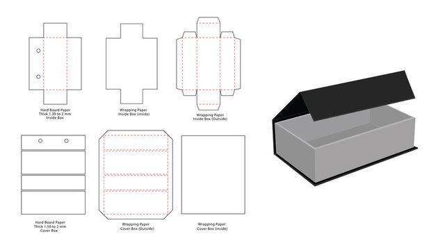 Magnet Lock Rigid box dieline template and 3D render
