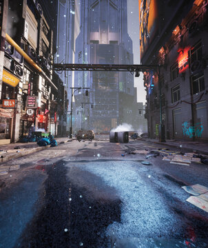 A cyber punk city. A night cinematic scene from a 3D rendered alley with atmospheric environment and lights.