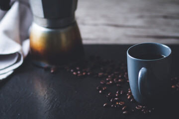 cup of coffee and coffee beans, work from home concept