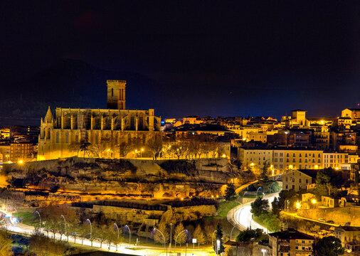 panoramic view of the city of Manresa at dusk