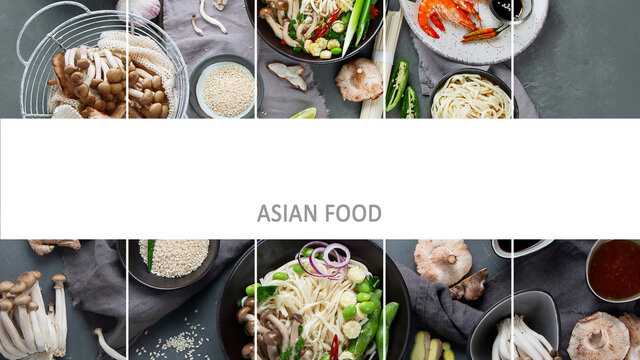 Collage of various asian meals. Asian food concept.