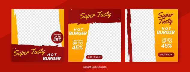 Wall Mural - Set collections of fully editable square banners. Food instagram post template design. Suitable for Social Media Post Restaurant and culinary Promotion. Red and yellow background color