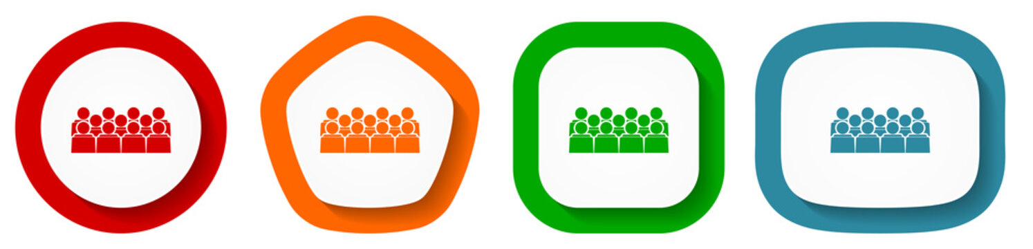 Group of people on seminar, audience vector icons, set of pentagon, square, oval and circle shape buttons