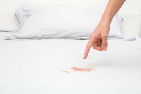 Young adult woman finger pointing to red fresh blood stain on light gray bed sheet after night menstruation. Closeup.