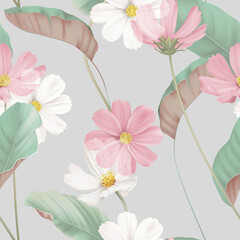 Floral seamless pattern, white and pink cosmos flowers with green leaves on grey