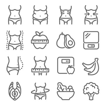 Diet icon illustration vector set. Contains such icons as Body, Diet, Skinny, Fat, Weight loss, Overweight, Fitness, and more. Expanded Stroke