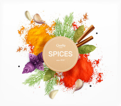 Spices And Herbs Realistic Emblem