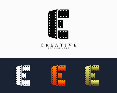 Set of colour letter E logo for strip film vector illustration.