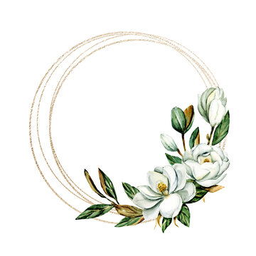 Flower gold frame border. Watercolor hand painting floral wreath with place for text with bouquet magnolia. Isolated on white background.
