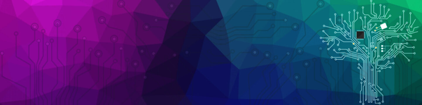 Website header or banner design with abstract geometric background and connecting dots and lines. Global network connection. Digital technology with gradient background and space for your text.