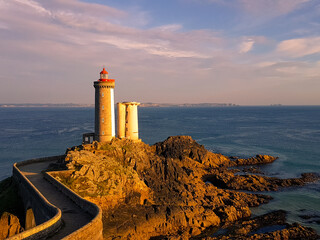 View of a lighthouse in Brest in France at sunset.