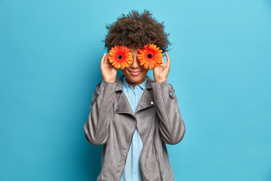 Pretty young African American woman hides eyes with orange gerbera flowers has fun smiles pleasantly dressed in grey stylish jacket poses against blue background. Florist going to make bouquet