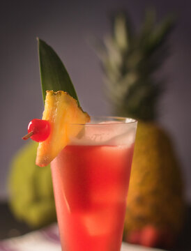 A selective focus shot of Bay Breeze cocktail
