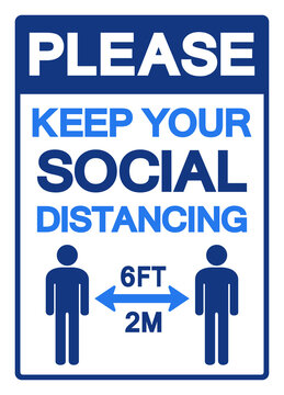 Please Keep You Social Distancing 2M Symbol, Vector  Illustration, Isolated On White Background Label. EPS10