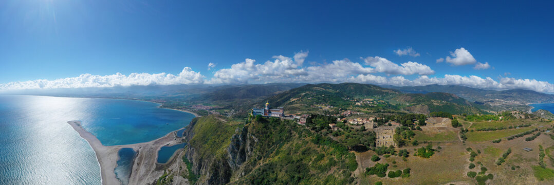 180 degree virtual reality panorama of Tindari and Marinello lakes in Sicily, Italy.
