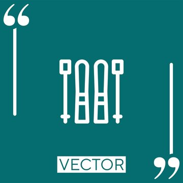skii vector icon Linear icon. Editable stroked line