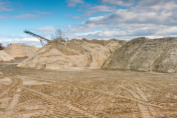 sand pit at the quarry pond