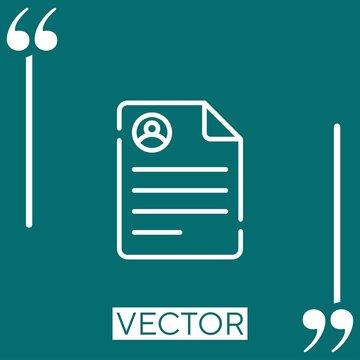 curriculum vitae vector icon Linear icon. Editable stroked line