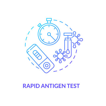 Rapid antigen test concept icon. Covid testing type idea thin line illustration. Nasopharyngeal swab test. Respiratory pathogens diagnosis. Vector isolated outline RGB color drawing