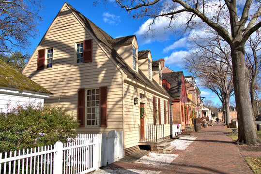 Row of Colorful colonial homes in Virginia