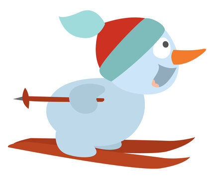 Snowman on skiis, illustration, vector on a white background.