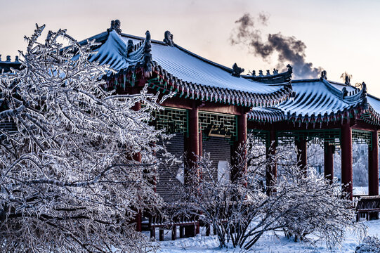 Winter landscape of Nanhu Park in Changchun, China after heavy snowfall