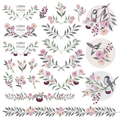 Wall Mural - Vector illustration of floral collection. A set of beautiful flowers and branches for for Wedding, anniversary, birthday and party. Design for banner, poster, card, invitation and scrapbook