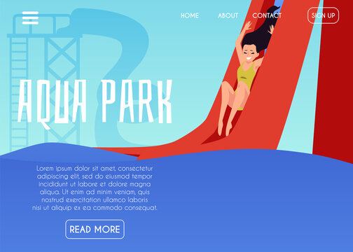 Vector landing page template with girl riding down water slide in aqua park