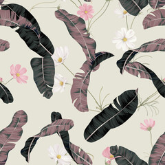 Floral seamless pattern, cosmos flowers and banana leaves on bright brown
