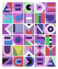 Multicolored decorative geometric font design. Abstract art graphic illustration featuring the letters of the alphabet from A to Z.