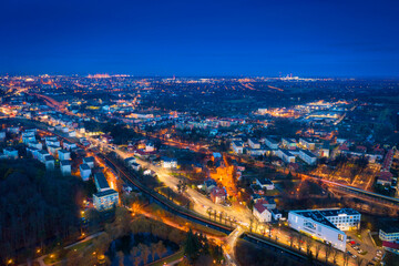 Fototapeta Aerial view of the Gdansk Orunia at dusk, Poland