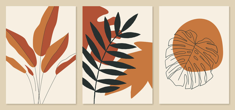 Abstract tropical leaves illustrations, monstera leaf art. Trendy mid century art, boho home decor, abstract floral wall art.