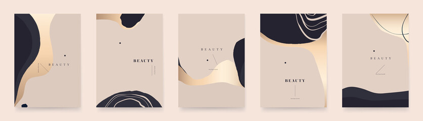 Modern golden abstract universal background templates. Minimalist aesthetic.