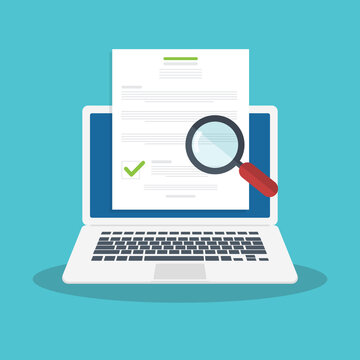 Online digital document inspection or assessment evaluation on laptop computer, contract review, analysis, inspection of agreement contract, compliance verification. Vector illustration