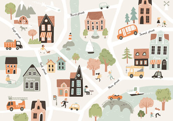 Cartoon childish town city print.Vector childish doodle style seamless picture pattern with city town symbols,cars,houses,buildings,trees,streets.City easy simple building drawing map, infrasturcture.