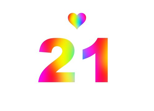 21st birthday card illustration with multicolored numbers isolated in white background.