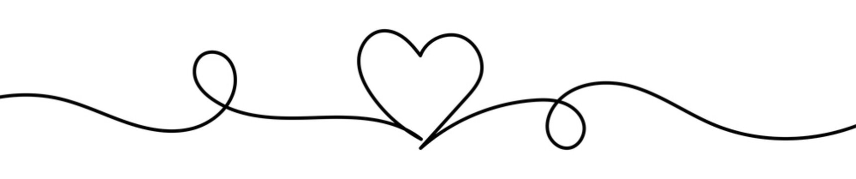 Heart line art drawing vector illustration. Continuous one line drawing heart. Abstract love symbol. Outline ribbon vector background. Art design template.