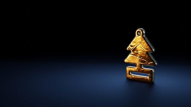 3d rendering symbol of air freshener wrapped in gold foil on dark blue background