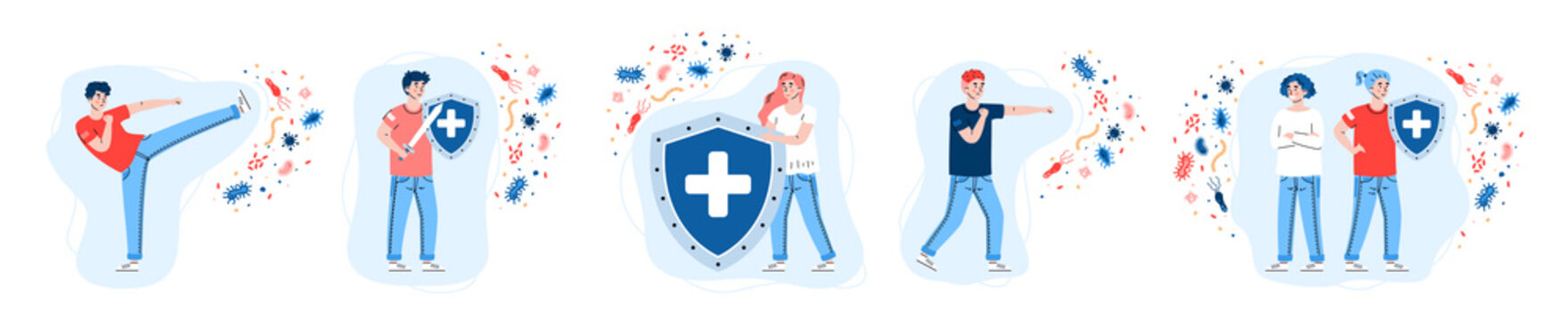 Set of people reflecting with viral attack by strong immune system, cartoon vector illustration isolated on white background. Immune system defence concept.