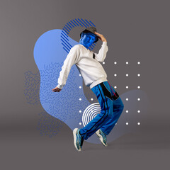 Celebrity, weightless. Stylish man headed by bright statue on grey background. Negative space to insert your text. Modern design. Contemporary colorful and conceptual bright art collage.