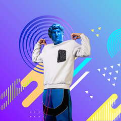 Look at me. Stylish man headed by bright statue on fluid neon background. Negative space to insert...