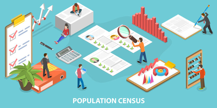 3D Isometric Flat Vector Conceptual Illustration of Population Census.