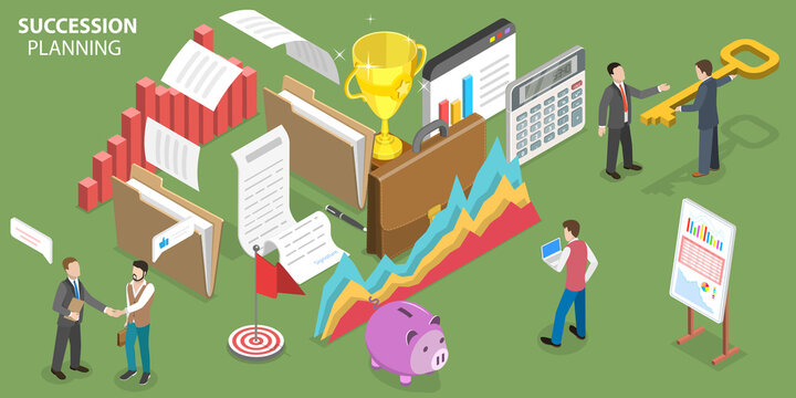 3D Isometric Flat Vector Conceptual Illustration of Business Succession Planning, Recruiting and Developing Employees to Fill Each Key Role Within the Company.
