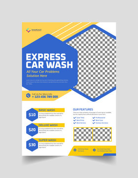 Car Wash Flyer or Cleaning Service Banner Rent Business Flyer, poster, Brochure Template For Social media post Web Template, Cleaning Service Banner